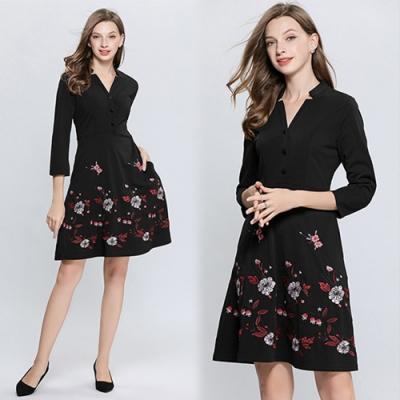 【KEITH-WILL】夏日狂賣V領花卉洋裝