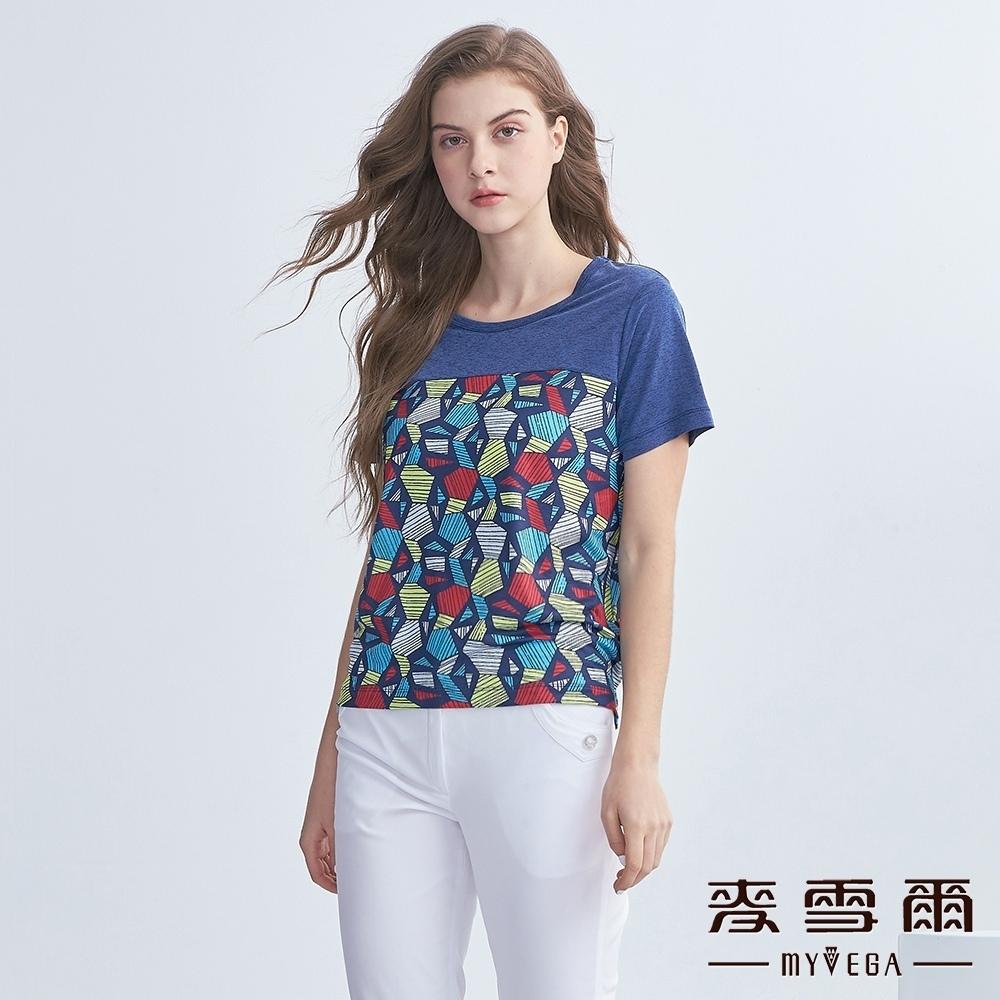 麥雪爾 花紗剪接色塊造型短袖上衣-藍