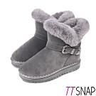 TTSNAP雪靴-帥氣飾扣仿牛麂皮保暖中筒靴 灰