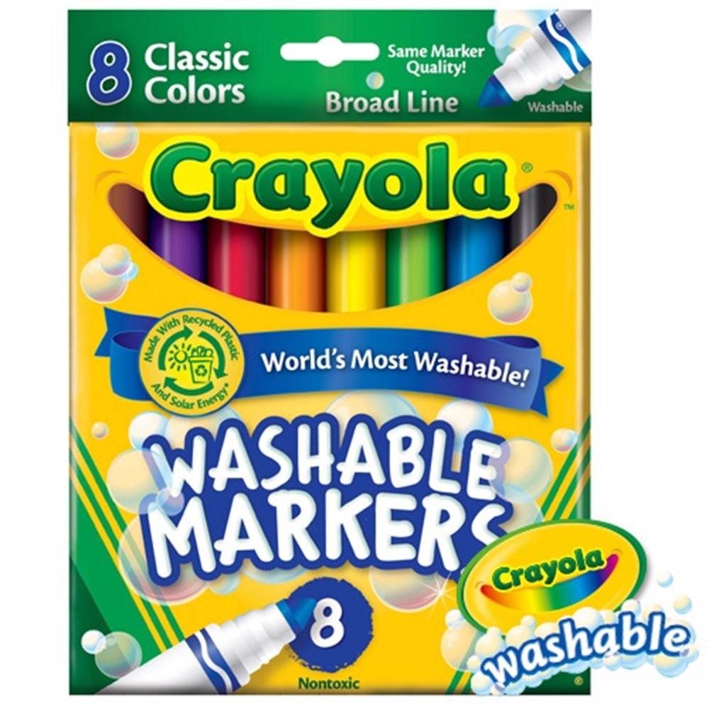 【美國crayola 繪兒樂】可水洗8色粗頭彩色筆-經典色