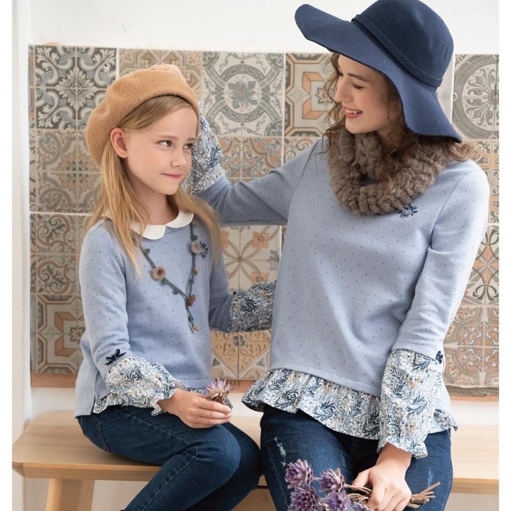 PIPPY-印花布接袖氣質上衣-藍