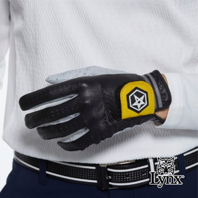 【Lynx Golf】Asher Premium系列男款防滑彈性骨頂級皮革高爾夫左手手套-黑色