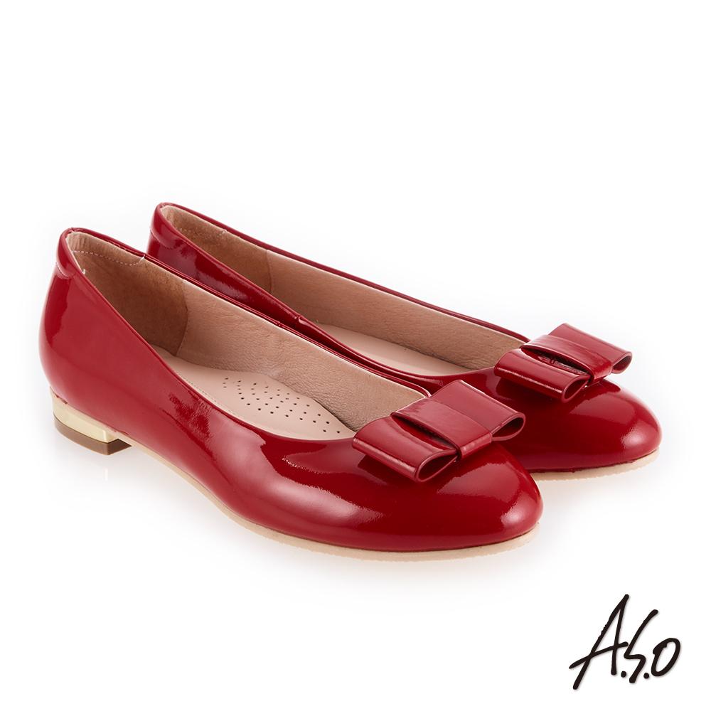 A.S.O 個性都會 高質感奢華鏡面平底鞋 正紅