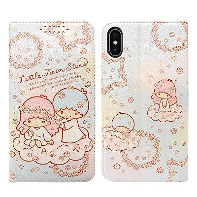 雙子星 iPhone Xs X 5.8吋 粉嫩系列彩繪磁力皮套(花圈)