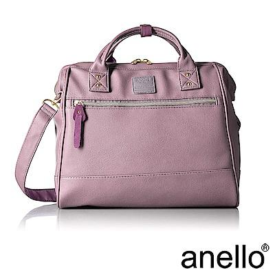 anello 皮革款手提斜背兩用包 粉紫色 L