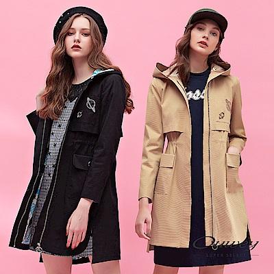 OUWEY歐薇 火箭星球連帽長版外套(黑/可) @ Y!購物