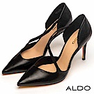 ALDO 原色幾何流線鏤空尖頭細高跟鞋~尊爵黑色