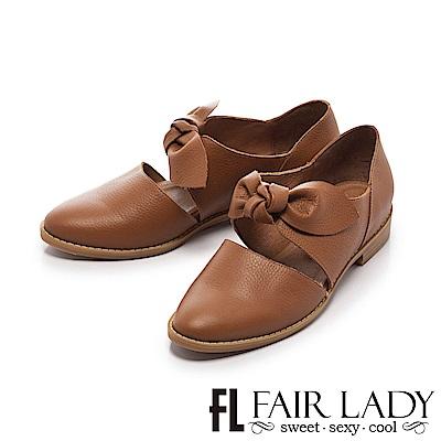 Fair Lady 有一種喜歡是早秋-復古甜美大扭結微縷空包鞋 棕
