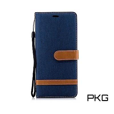 PKG 三星Note9 側翻式皮套-精選皮套系列-牛仔布時尚百搭款-寶藍