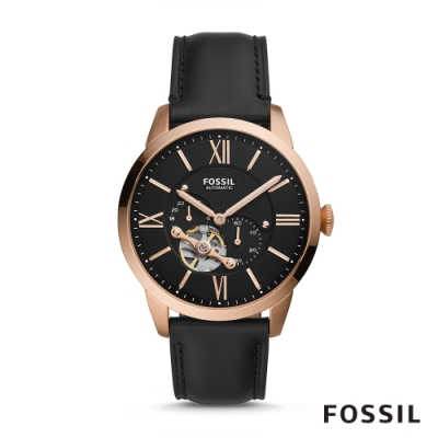 FOSSIL TOWNSMAN AUTO 城市雅痞皮革機械男錶-黑色44MM ME3170