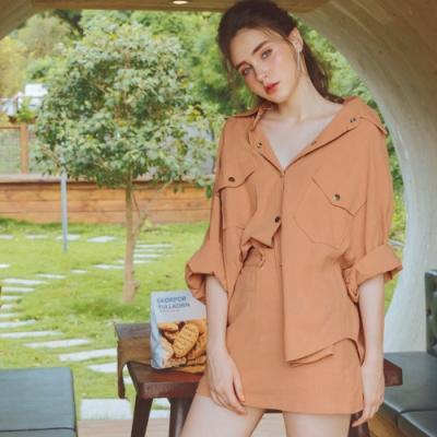 AIR SPACE 棉料排釦襯衫褲裙套裝(橘)