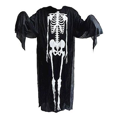 摩達客 萬聖派對變裝-黑白骷髏骨架鬼衣長罩衫 (大人/兒童尺寸)cosplay