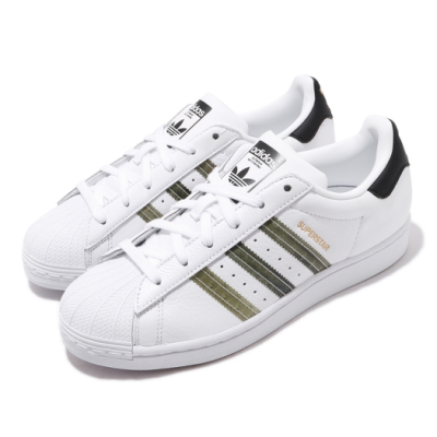 adidas 休閒鞋 Superstar 復古 低筒 男女鞋 愛迪達 三葉草 貝殼頭 皮革鞋面 情侶鞋 白 綠 FX4685