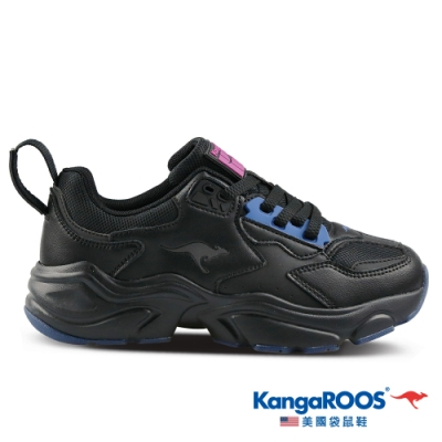 KangaROOS 美國袋鼠鞋 女 SWING 復古籃球老爹鞋/休閒鞋(黑-KW01180)