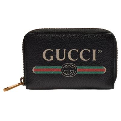 GUCCI 品牌LOGO復古風格綠紅綠標誌小牛皮拉鍊卡夾/零錢包(黑)