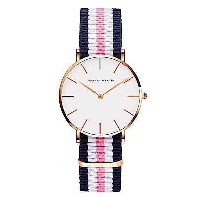 HANNAH MARTIN 彩色刻度藍粉帶腕錶-白x36mm(HM3690-B36-F2)