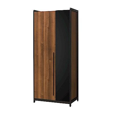 文創集 普艾爾2.7尺二門單吊衣櫃/收納櫃(吊衣桿+單抽屜)-82x60x202cm免組