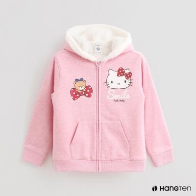 Hang Ten-童裝-Sanrio-童趣圖樣刷毛連帽外套-粉