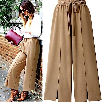 MOCO素色鬆緊腰綁帶中間壓線褲管開叉闊腿褲寬褲L~4L