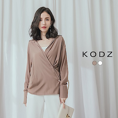 東京著衣-KODZ 個性首選人造棉V領襯衫上衣(共兩色)