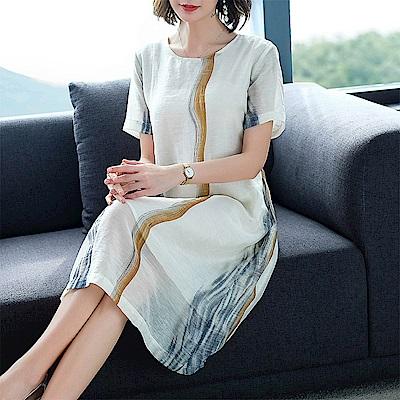 初色  雪紡文藝氣質連身裙-白色-(M-2XL可選)