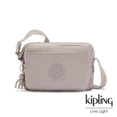 Kipling 溫柔沉穩灰前後加寬收納側背包-ABANU