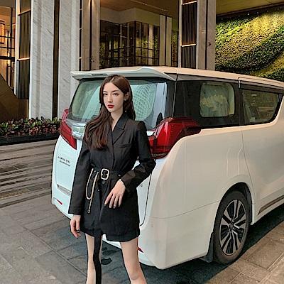 DABI 韓系休閒寬鬆小西裝薄款鏈條腰帶長袖洋裝