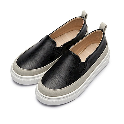 BuyGlasses 雙色拼接厚底懶人鞋-黑