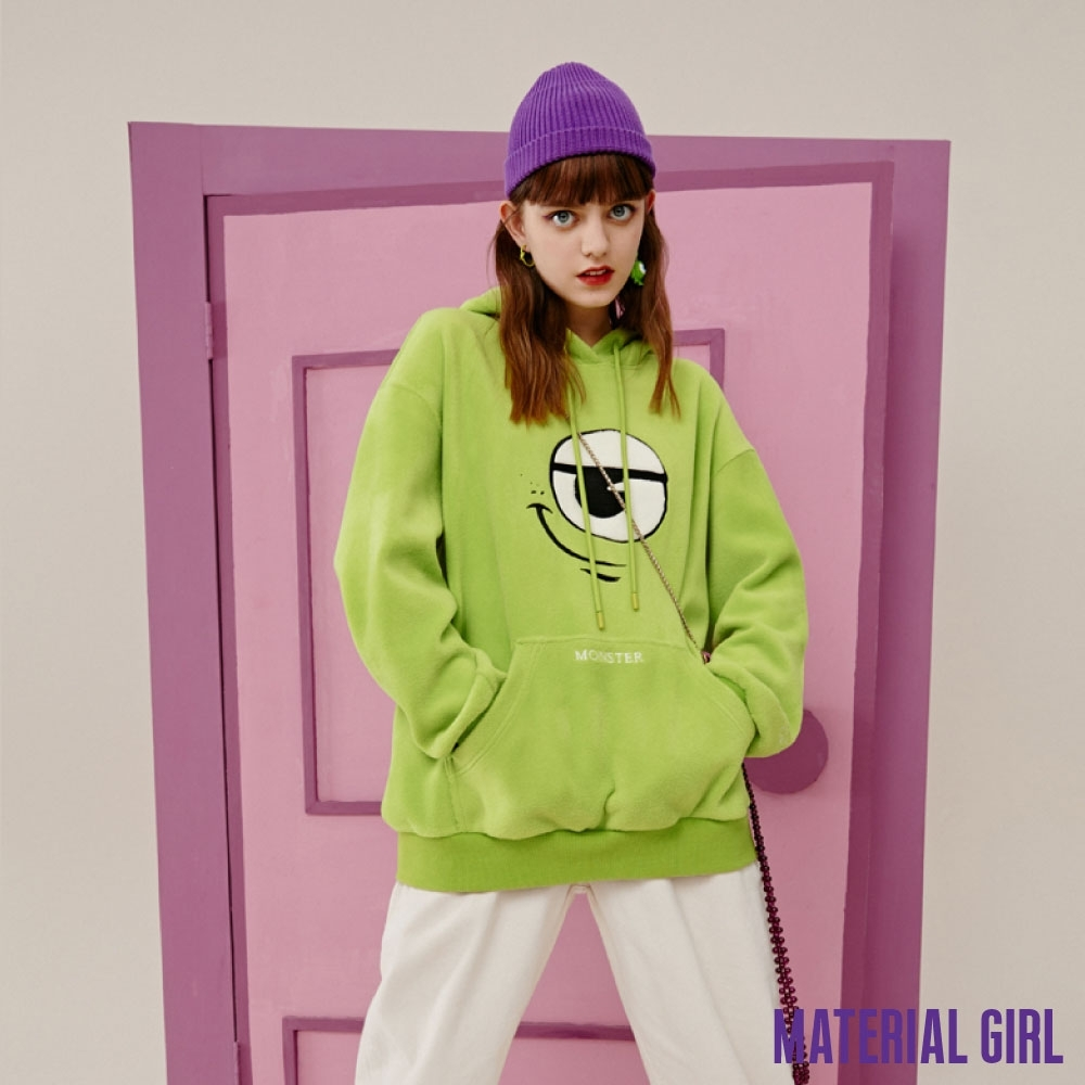 MATERIAL GIRL 小怪獸趣味表情絨毛連帽上衣【20冬季款】-A4114