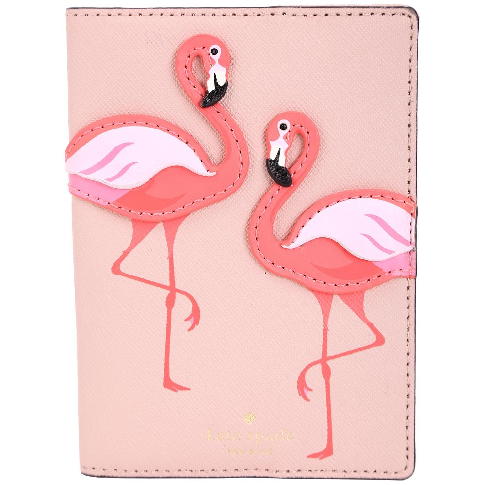 Kate Spade 紅鶴防刮皮護照夾(粉紅色)