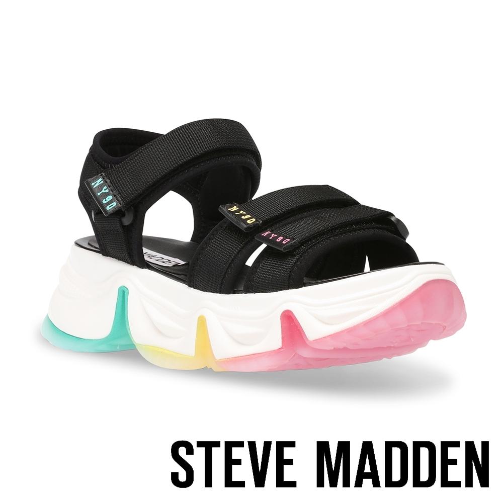 STEVE MADDEN-CHAKRA 亮眼繽紛魔鬼氈厚底運動涼鞋-黑色