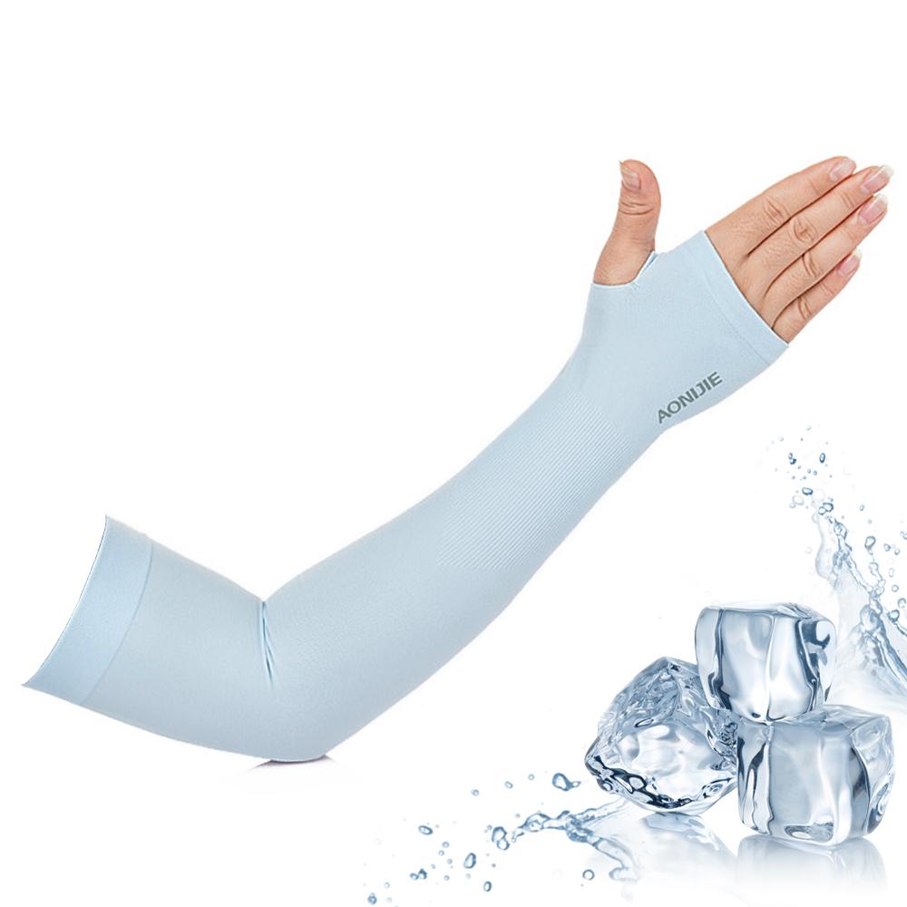 活力揚邑 涼感防曬UPF50抗UV吸濕排汗萊卡袖套臂套-清涼藍