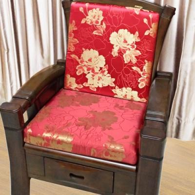 凱蕾絲帝 高支撐記憶聚合緹花緞面坐墊/沙發墊/實木椅墊54x56cm-金妝牡丹(二入)