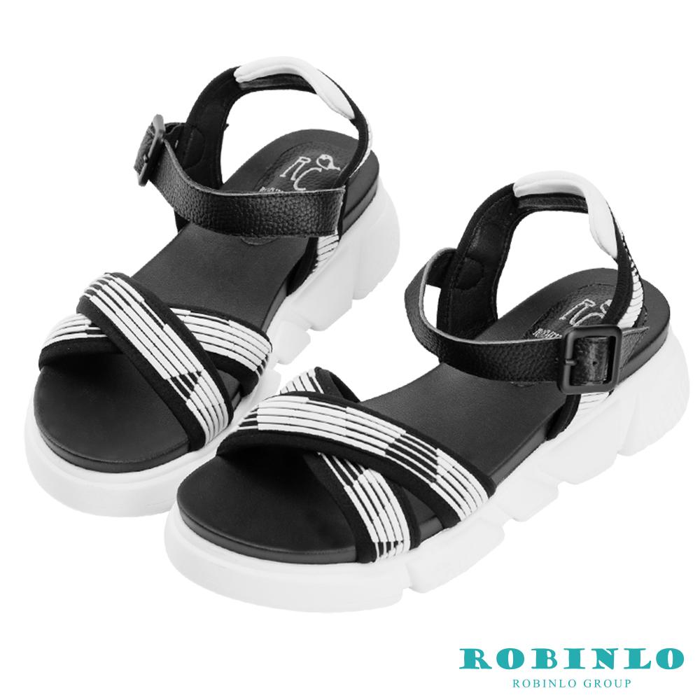 Robinlo 輕量動感撞色交叉織帶涼拖鞋 白色