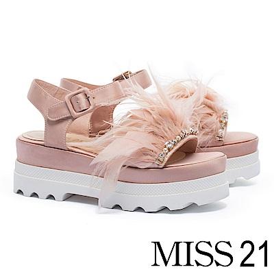 涼鞋 MISS 21 浪漫羽翼水鑽裝飾魔鬼氈厚底涼鞋-粉