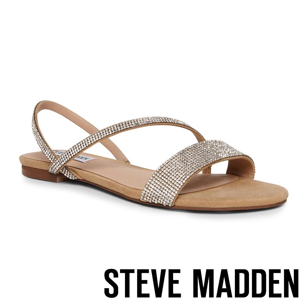 STEVE MADDEN-NELLIE-R 閃鑽交叉條帶一字平底涼鞋-銀色