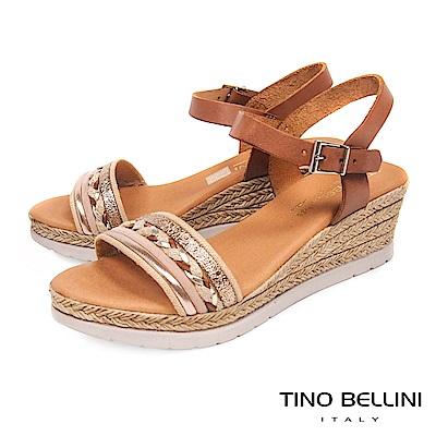 Tino Bellini 西班牙進口異材質編織繫踝楔型涼鞋 _ 棕