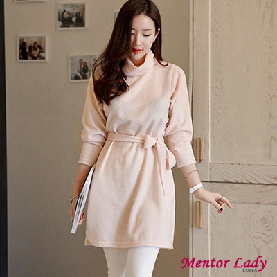 【Mentor Lady】垂領下擺開岔綁帶洋裝(粉色)