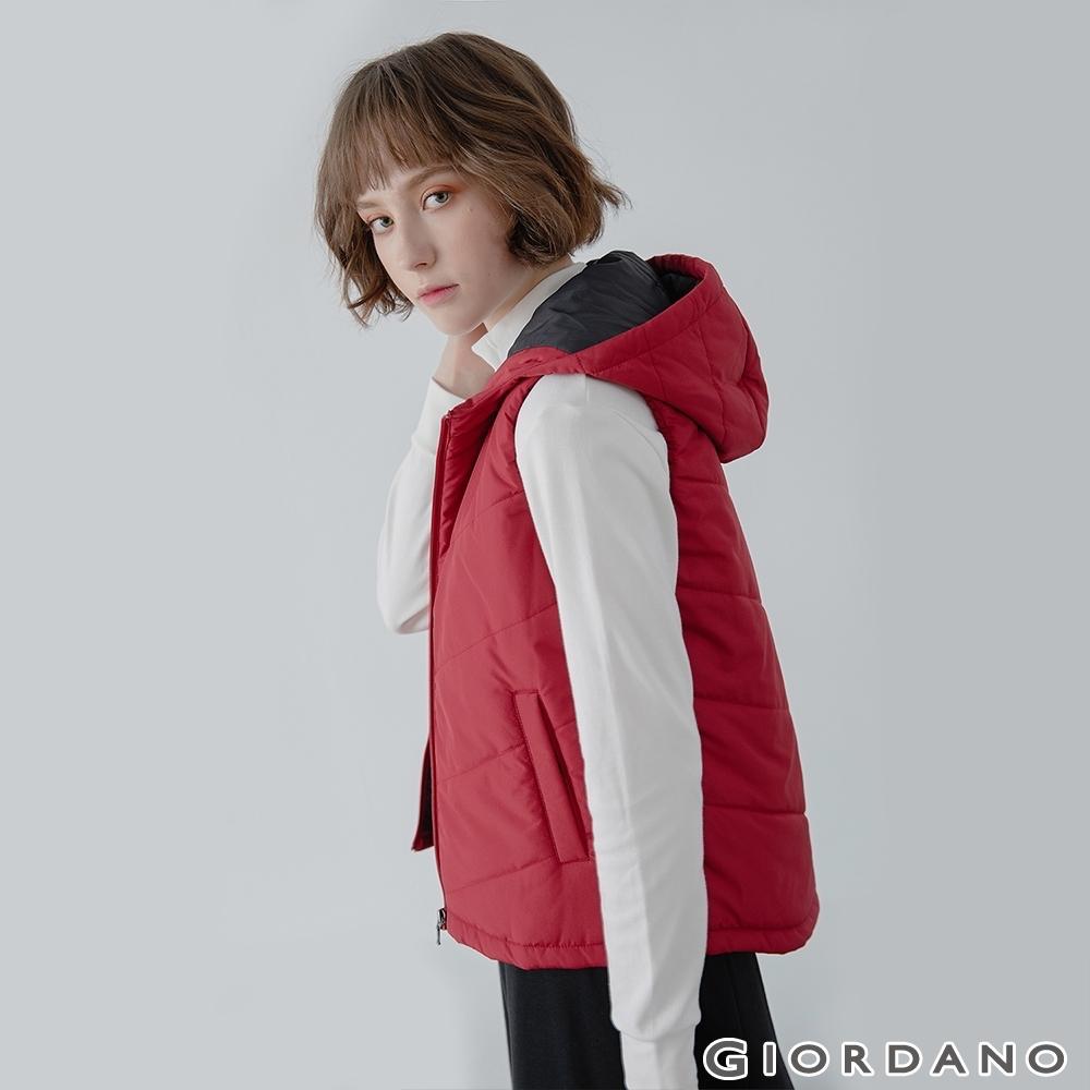 GIORDANO  女裝經典素色保暖連帽背心 - 24 標誌紅