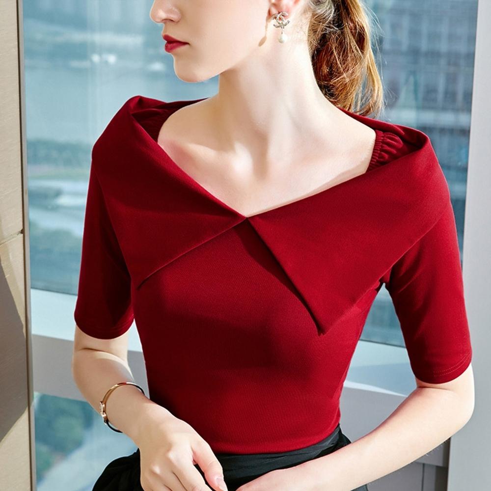 專注內搭-設計感T恤五分袖法式復古大翻領上衣(三色S-2XL可選)