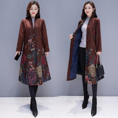 【韓國K.W.】(預購)印花中國風韓版長版立領大衣外套-2色