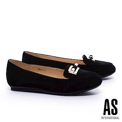 平底鞋 AS 典雅知性金飾牛麂皮樂福平底鞋-黑 @ Y!購物