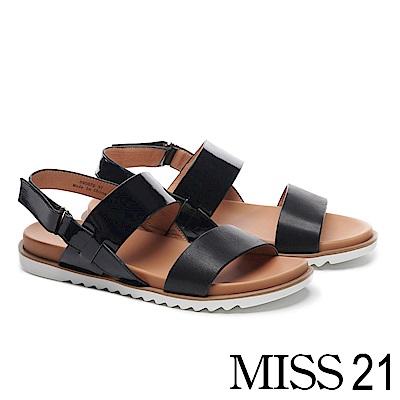 涼鞋 MISS 21 摩登質感拼接牛皮厚底涼鞋-黑