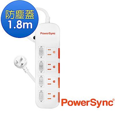 群加 PowerSync 四開四插防塵防雷擊延長線/1.8m(TPS344DN9018)
