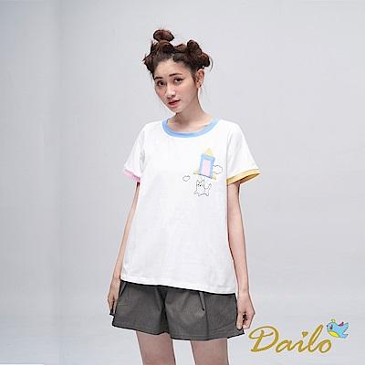 Dailo INLook 火箭升空彩色滾邊棉T(白色)