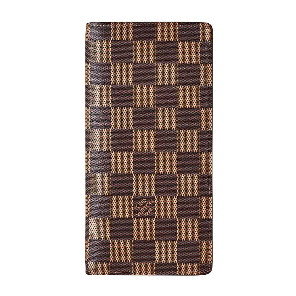 LV N60017 BRAZZA棋盤格DAMIER EBENE直立對折長夾(咖啡x深咖啡)