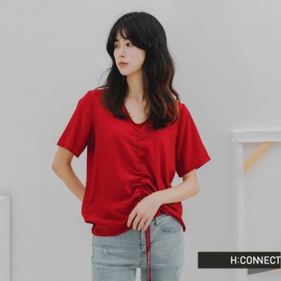 H-CONNECT 韓國品牌 女裝- 純色甜美抽繩抓皺上衣-紅色