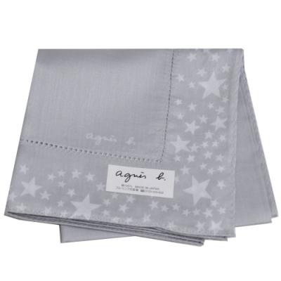 agnes b 品牌字母LOGO繽紛星星圖騰帕領巾(灰系)
