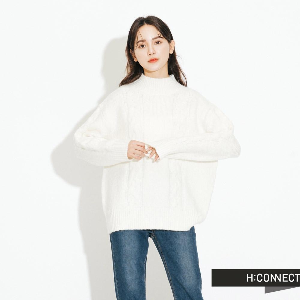H:CONNECT 韓國品牌 女裝 - 立領麻花針織上衣  - 白