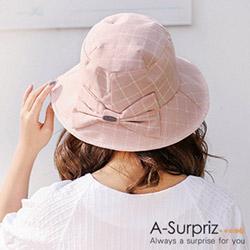 A-Surpriz 氣質格紋蝴蝶結遮陽布帽(粉)